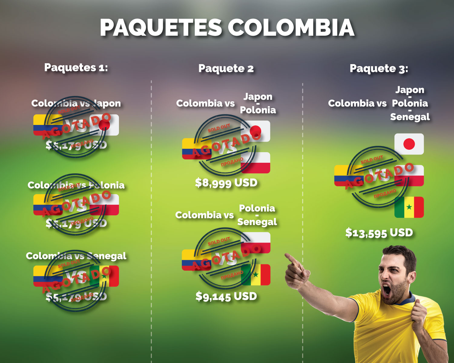 paquetes partidos colombia vs japon polonia sengal rusia 2018